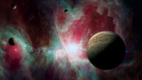 View of Jupiter, the fifth planet of the Solar System, with nebula. Elements of this image furnished by NASA. Science fiction wallpaper.
