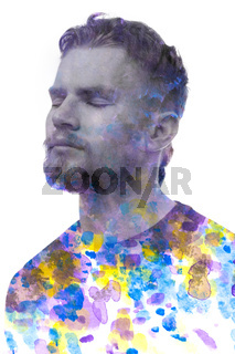 A black and white portrait of a young man combined with various colorful watercolor strokes. Paintography.