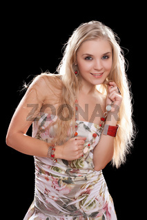 Portrait of a playful young blonde
