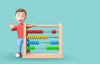 Young 3D Cartoon Character with Abacus on Blue Background with Copy Space