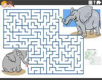 maze game with cartoon baby elephant with mom