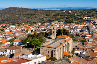 Montanchez with the church of St Matthew, San Mateo in Extremadura. Spain.
