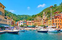Harbour vith boats in Portofino in Italy