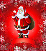 Red Christmas greeting card with santa claus