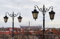 Warsaw, Poland, Nov 15, 2018: View of National Stadium, a retractable roof football stadium from the old city.