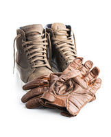 Safety motorcycle accessories. Leather gloves and shoes