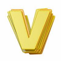 Yellow font Letter V 3D
