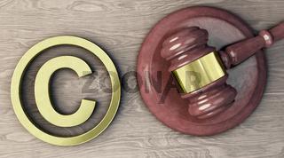 Copyright-Symbol und Richterhammer