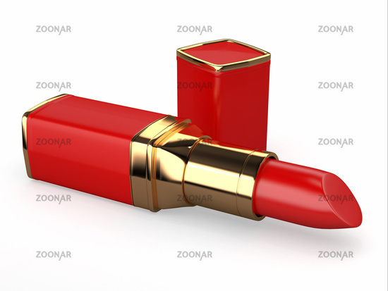 Red lipstick on white background. Three-dimensional image.