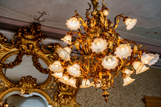 Large golden chandelier with floral shades and floristic style bulbs. Against the background of an antique mirror with a carved gilded frame.