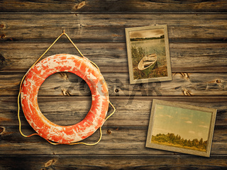 lifebuoy and old travel photos