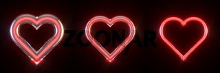 Three neon glowing red hearts signs 3D