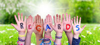 Children Hands Building Word Regards, Grass Meadow