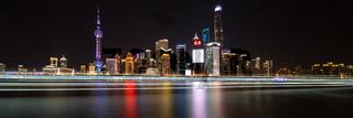 Modern shanghai skyline at night