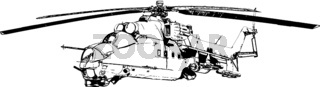 Vector image of a military helicopter with combat machine guns
