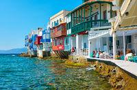 Cafes by the sea in Little Venice in Mykonos