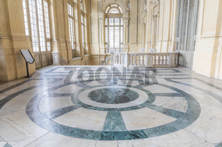 The most beautiful Baroque hall of Europe located in Madama Palace (Palazzo Madama), Turin, Italy. Interior with luxury marbles, windows and corridors.