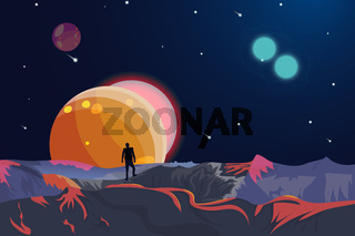 Space and planet background with copy space.