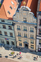 Historic building in Torun Old town seen from above