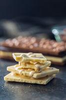 White chocolate bar with hazelnuts.
