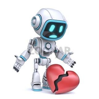 Cute blue robot look at broken heart 3D