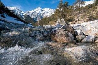 Clear splashing mountain river flowing over rocks through evergreen forest, Mieminger Plateau, Tirol, Austria