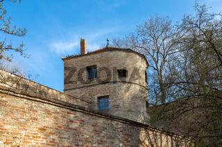 Turm am Jakober Wall, mittelalterliche Stadtbefestigung in Augsburg