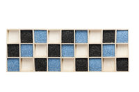 Wooden box with blue and black decorative sand