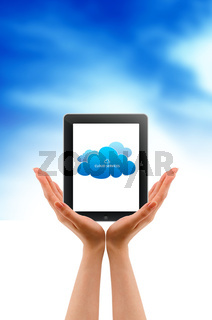 Hands holding a Tablet PC