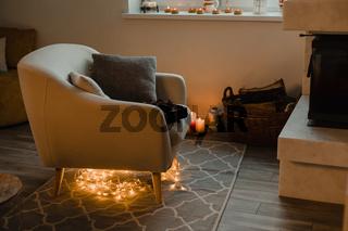 Interior of a cozy room in wintertime