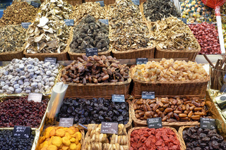 Barcelona. Catalonia. Spain. The Mercat de Sant Josep de la Boqueria. Dry fruit