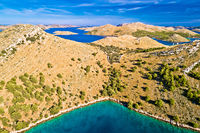 Kornati. Stone desert island archipelago landscape of Kornati national park aerial view