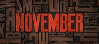 Retro letterpress wood type printing blocks - November