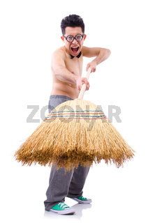 Funny man with broom on white