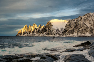 Devil's teeth in Steinfjord fjord and mountain in Northern Norway