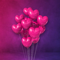 Pink heart shape balloons bunch on a purple wall background