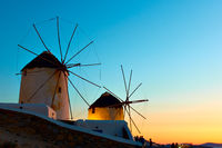 Windmills in Mykonos island in Greece