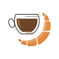 Sweet Croissant Icon and Cup of Coffee Isolated on White Background