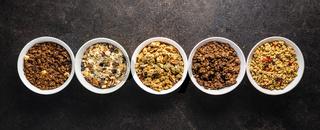 Various breakfast cereals. Morning granola in bowl.