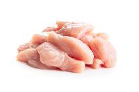 Poultry meat. Sliced raw turkey meat. Breast meat