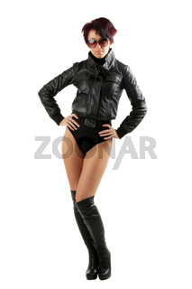 beauty teen woman in leather jacket and high heels boots