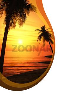 Partyflyer mit Wellen - Ibiza Sunset Chillout