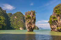 Tropical islands view at James bond island (Khao Tapu) with ocean blue sea water, Phang Nga Thailand nature landscape