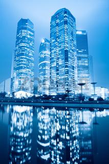 night scene of shanghai financial center greenbelt