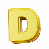 Yellow font Letter D 3D