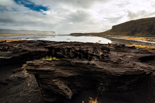 Rock formation at Dyrholaey, Iceland