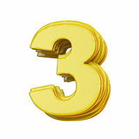 Yellow font Number 3 THREE 3D