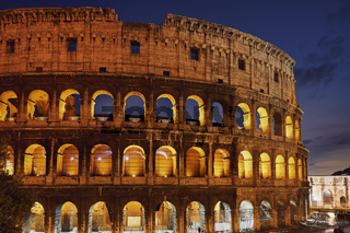 The Colosseum in Rome Italy at sunset