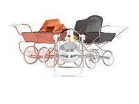 3D rendering set for sleeping baby, orange and black two baby strollers for walk and rocking chair with toys on white background no shadow