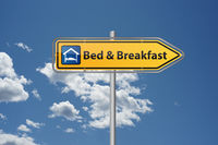 Bed and Breakfast overnight apartment on signpost with bed and breakfast icon
